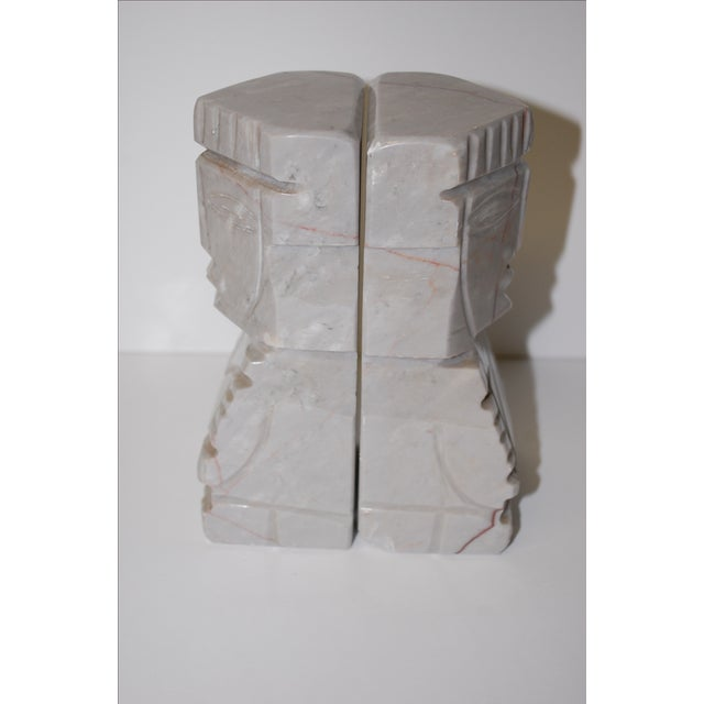 1950s Gray Marble Aztec Bookends - Image 4 of 7