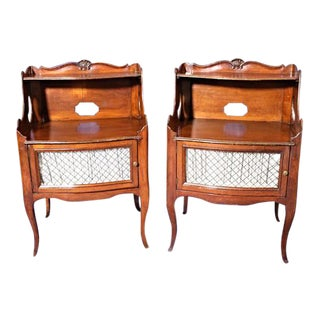 French Walnut Step Nightstands - A Pair