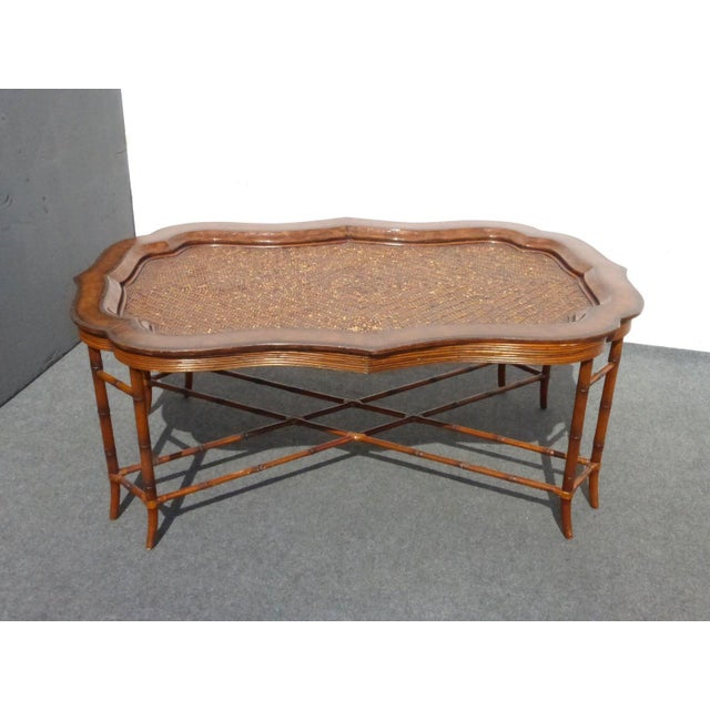 Maitland-Smith Rattan & Leather Coffee Table - Image 4 of 11