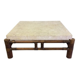 Henredon Mactan Stone Top & Bamboo Coffee Table