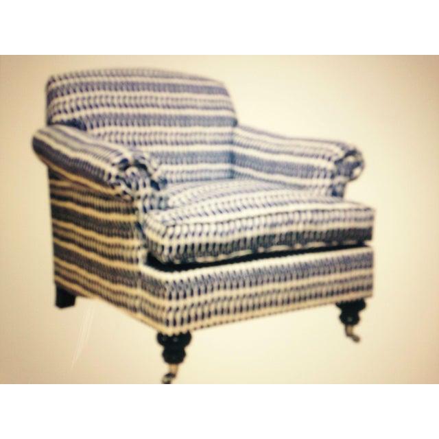 Image of Joplin Ikat Armchair in White & Cobalt - A Pair