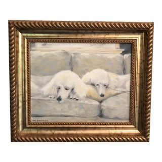 """""""Let Sleeping Dogs Lie"""" Poodle Oil Painting"""