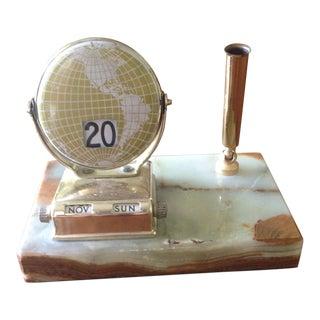 Vintage Marble/Brass Perpetual Desk Calendar