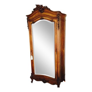 French Louis XV Armoire With Mirror Door