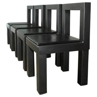 Gunmetal Gray Steel Modern Industrial Dining Chairs - Set of 4
