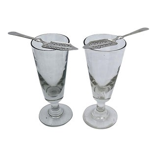 Antique Absinthe Glasses With Spoons - A Pair
