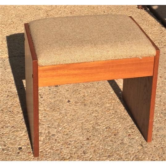 Danish Modern Upholstered Teak Vanity Stool - Image 4 of 4