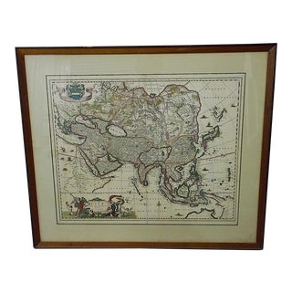 "Antique 17th C. Map-Asia-""Asiae Nova Delineato"" By N. Visscher"