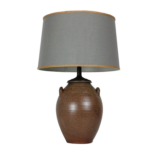 Vintage Studio Pottery Lamp W/Shade - Image 7 of 8