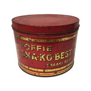 Vintage European Coffee Shop Red Display Tin