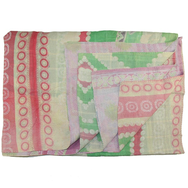 Vintage Turkish Kantha Pink & Green Quilt - Image 1 of 2