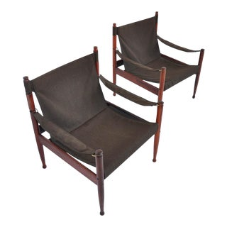 Pair of Erik Wørts Rosewood Safari Sling Lounge Chairs
