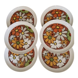 Mid-Century Noritake Cheery Dinner Plates Flower Power Culebra Pattern - Set of 6