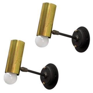 Pair of Boris Lacroix Adjustable Brass Wall Lights