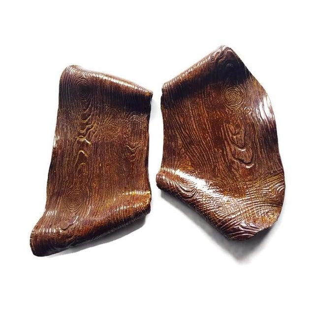 Image of Vintage Ceramic Wood Trays Rustic Modern - 2