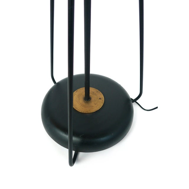 Jacques Adnet-Style Black & Brass Floor Lamp - Image 8 of 8