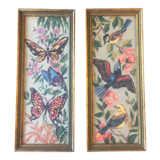 Vintage Framed Needlepoint Butterfly & Bird Prints - A Pair