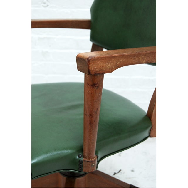 Mid Century Swivel Desk Chair in Green - Image 5 of 6