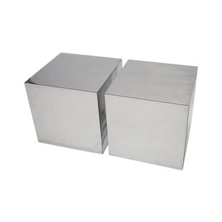 Paul Evans Style Chrome Cubes - A Pair