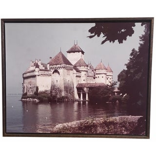 Large 1960s Castle Photograph on Rustic Wood