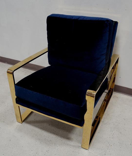 berhardt velvet gold chrome chair chairish