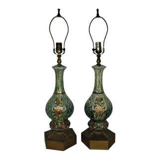 Vintage Capodimonte Hand Painted Lamps- A Pair