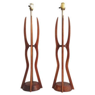 Mid-Century Sculpted Wood Table Lamps - A Pair