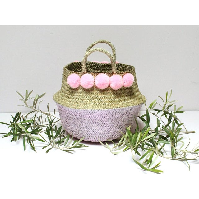 Double Woven Sea Grass Pastel Pink Pom Poms Belly Basket - Image 2 of 7