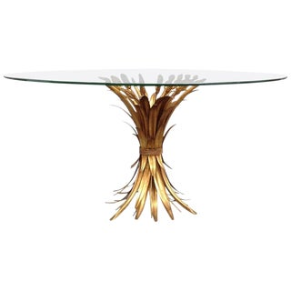 Glamorous French Gilt Wheat Sheaf Coffee Table