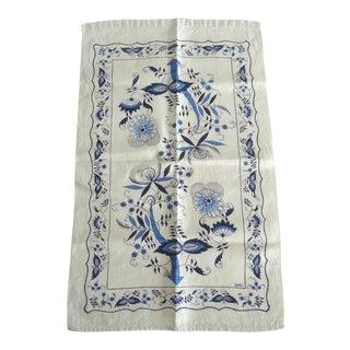 Vintage Blue Onion Print Linen Tea Towel
