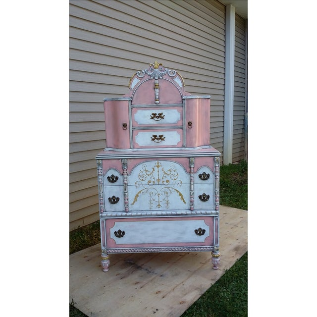 Antiqued Pink & Gold French-Style Dresser - Image 3 of 11