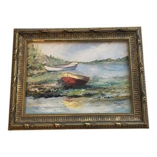 Vintage Boats Framed Oil Painting
