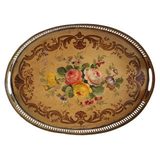French Antique Tole Painted Tray