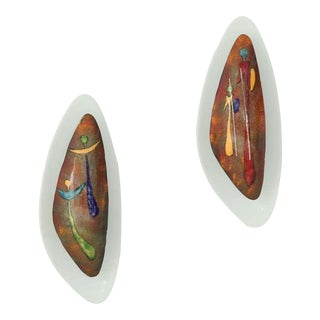 Pair Italian Wall Appliques With Figurative Enamel