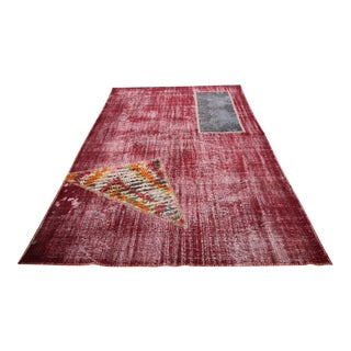 Vintage Turkish Overdyed Patchwork Oushak Distressed Rug - 6′9″ × 10′