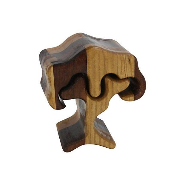 1970s Hand-Carved Puzzle Box Tree - Image 1 of 4