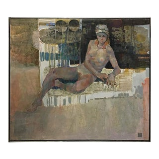 Lau Chun Circa 1976 Female Nude Oil on Canvas Painting