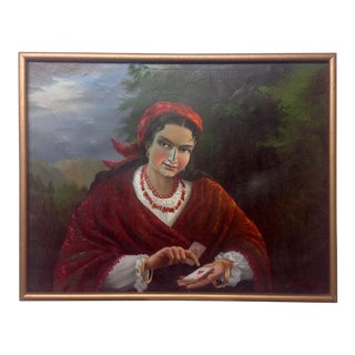 Vintage Gypsy Woman Oil Painting