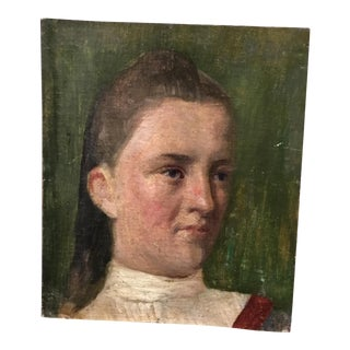 19th Century Young Girl Oil Painting
