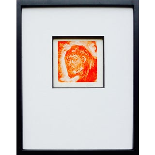 Orange Mono Print Portrait Drawing