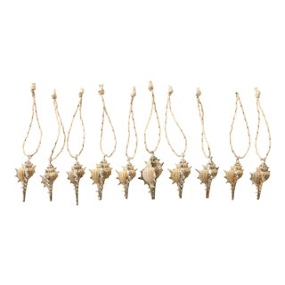 Silvered Conch Shell Christmas Ornaments - S/10