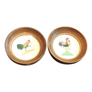 Vintage Round Framed Chicken Prints - A Pair