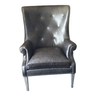 Gray Leather Wing Chair by Hickory Chair Company