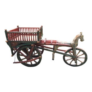 Folk Art Style Decorative Horse & Wagon Sculpture