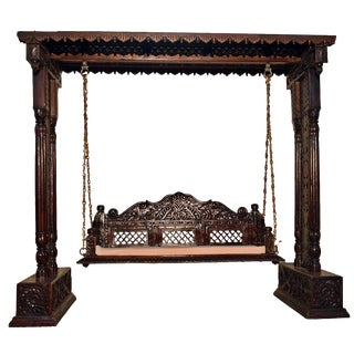 Jali Flower Wooden Carved Royal Swing Set