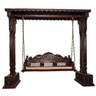 Jali Flower Wooden Carved Royal Swing Set