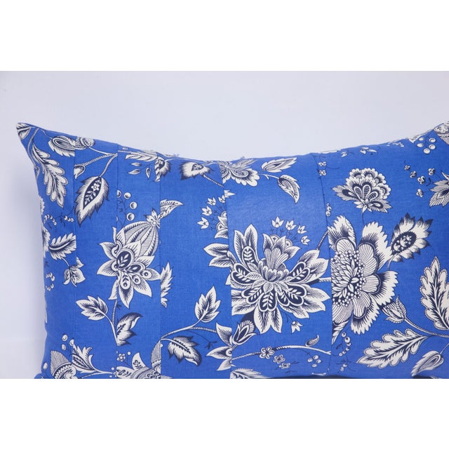 Black & White Floral on Blue Accent Pillow - Image 4 of 5