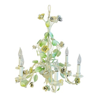 Vintage Italian Six-Arm/Light Pastel Rose Tole Chandelier