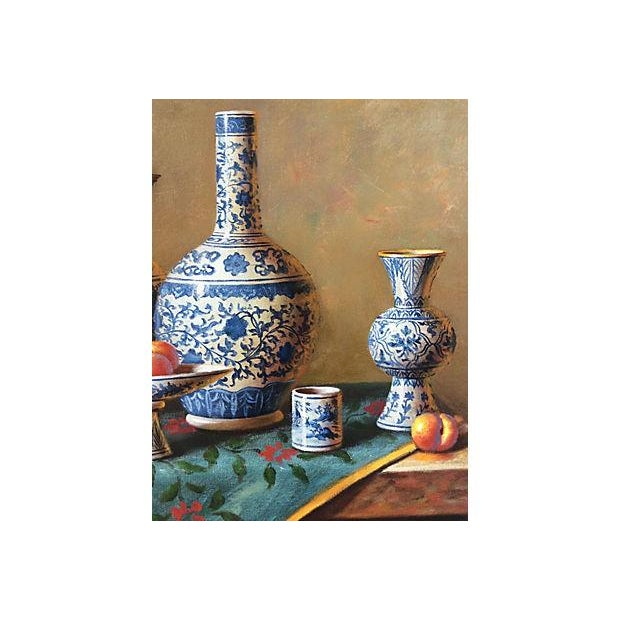 Blue & White Porcelain Still Life Painting - Image 5 of 5