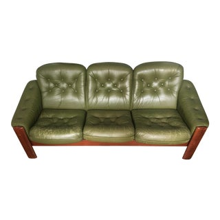 Vintage Swedish Green Leather Sofa